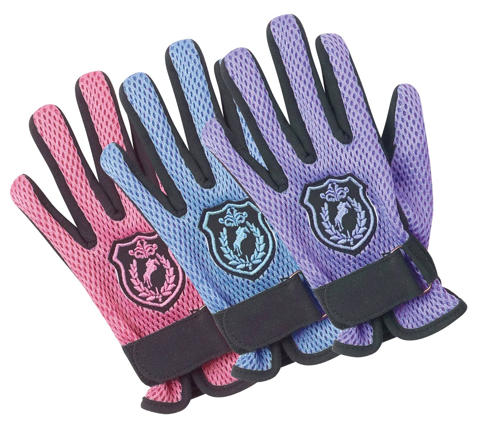 Ovation Kids Mesh Back Glove Horse Crest