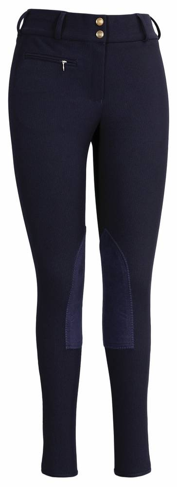 Tuffrider Ribb Lowrise Knee Patch Wide Waistband Breech - Regular
