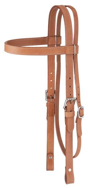 Tough-1 Western Leather Browband Draft Headstall