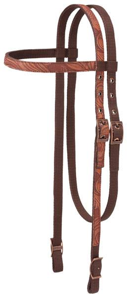 Tough-1 Print Browband Headstall - Tooled Leather