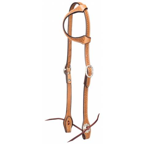 Tough-1 Leather Single Ear Headstall - Basket Stamp with Silver Hardware