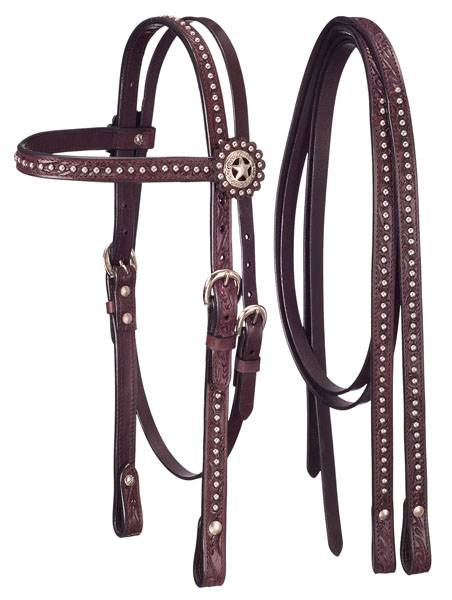 Tough-1 Bridle and Headstall Set with Dots and Star Conchos