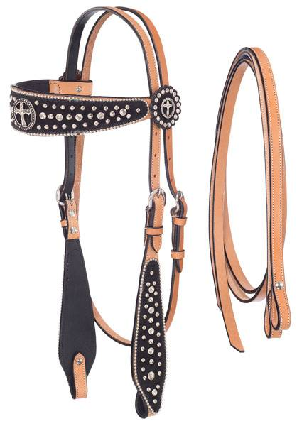 Silver Royal Midnight Run Cross Headstall and Reins Set with Inlay