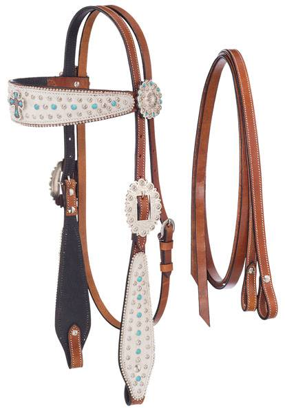 Silver Royal Desert Hope Cross Headstall and Reins Set with Inlay & White Hair Overlay
