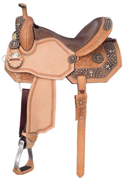 Silver Royal Desert Faith Barrel Saddle with Brown Alligator Overlay