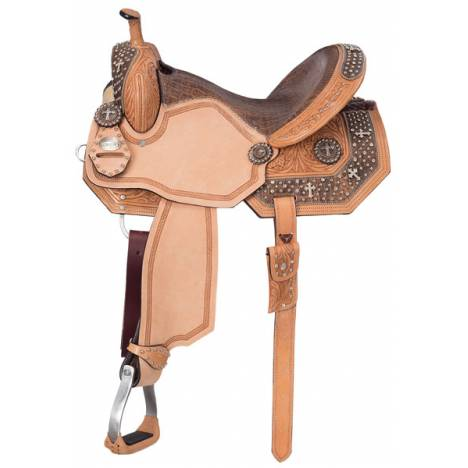 Silver Royal Youth Desert Faith Barrel Saddle with Black Suede Overlay