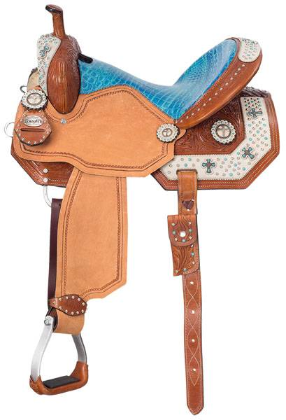 Silver Royal Youth Desert Hope Barrel Saddle with White Hair Overlay