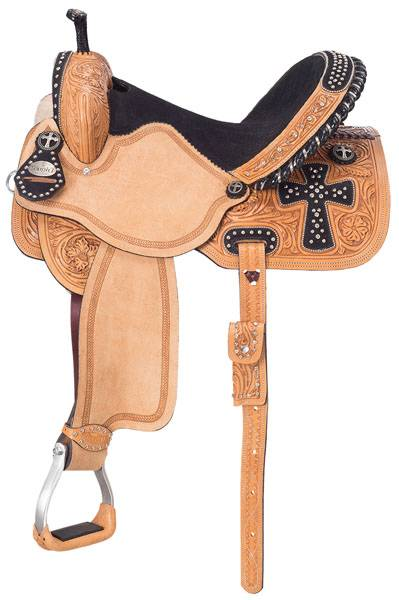 Silver Royal Youth Midnight Run Barrel Saddle with Brown Suede Overlay