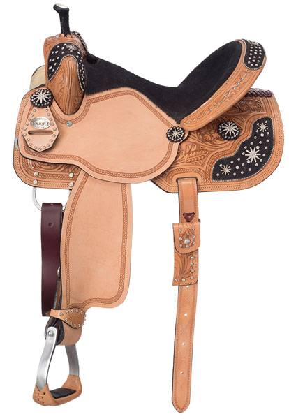Silver Royal Youth High Noon Barrel Saddle with Brown Hair Overlay