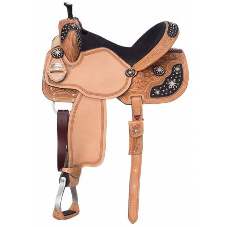 Silver Royal Youth High Noon Barrel Saddle with Black Hair Overlay