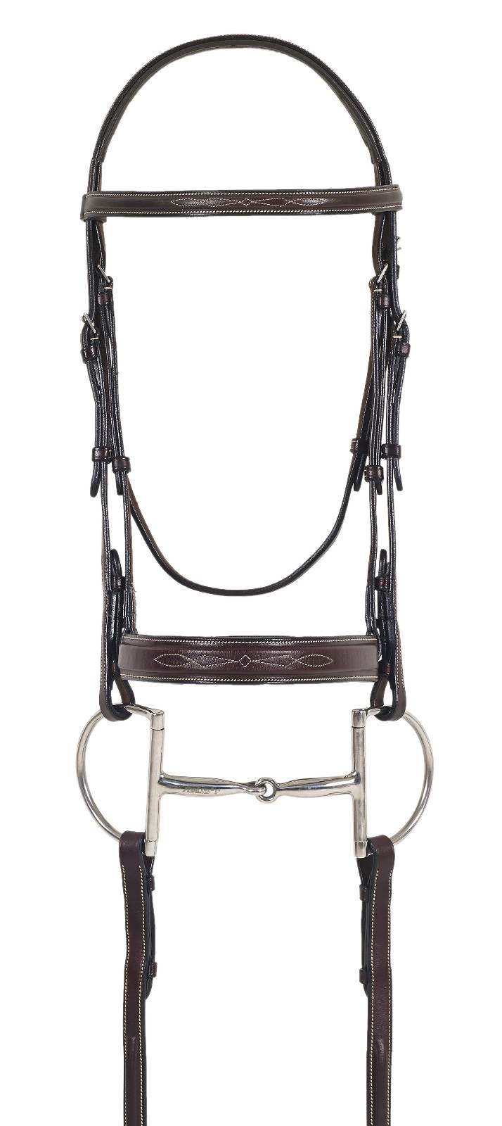Ovation Fancy Wide Nose Bridle with Comfort Crown and Laced Reins