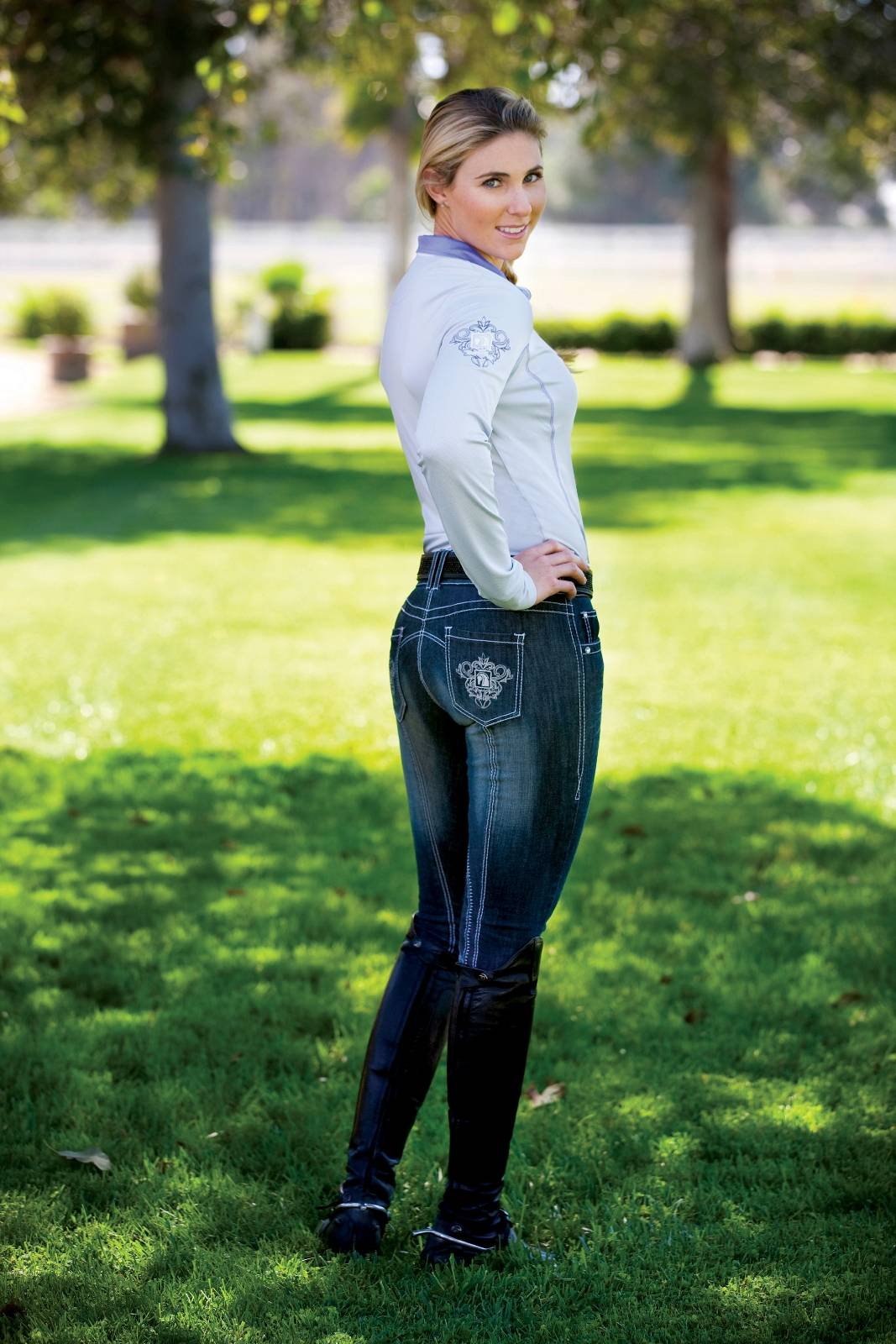 Romfh Miss Faded Denim Knee Patch Breech