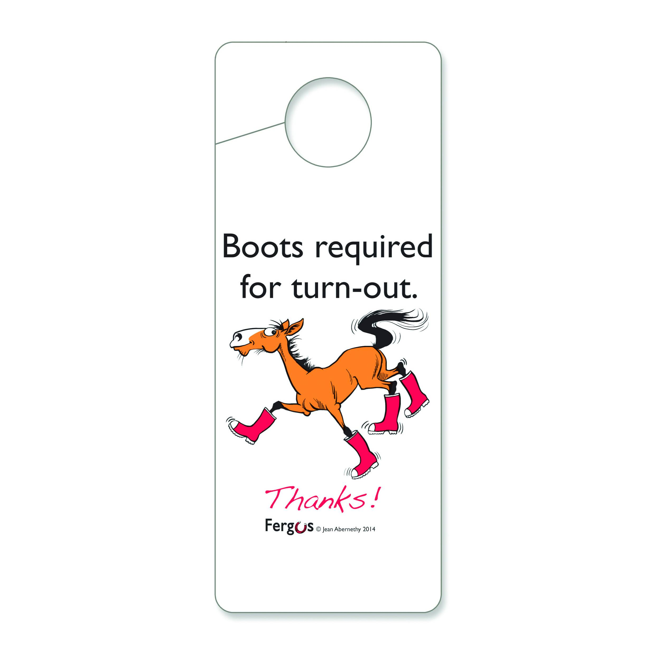 Fergus Stall Door Hanger ''Boots Required''