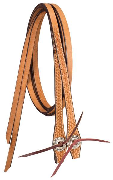 Tough-1 Premium Leather Split Reins - Basket Tooled with Silver Hardware