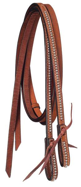 Tough-1 Premium Leather Split Reins with Silver Dots