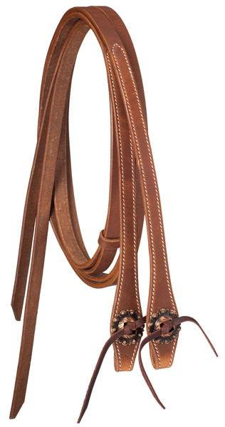 Tough-1 Premium Reins - Harness Leather with Copper Concho