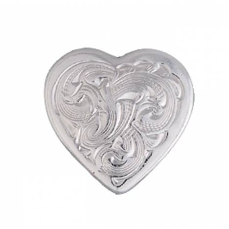Montana Silversmiths Heart Shaped Silver Engraved Concho with Chicago Screw Back