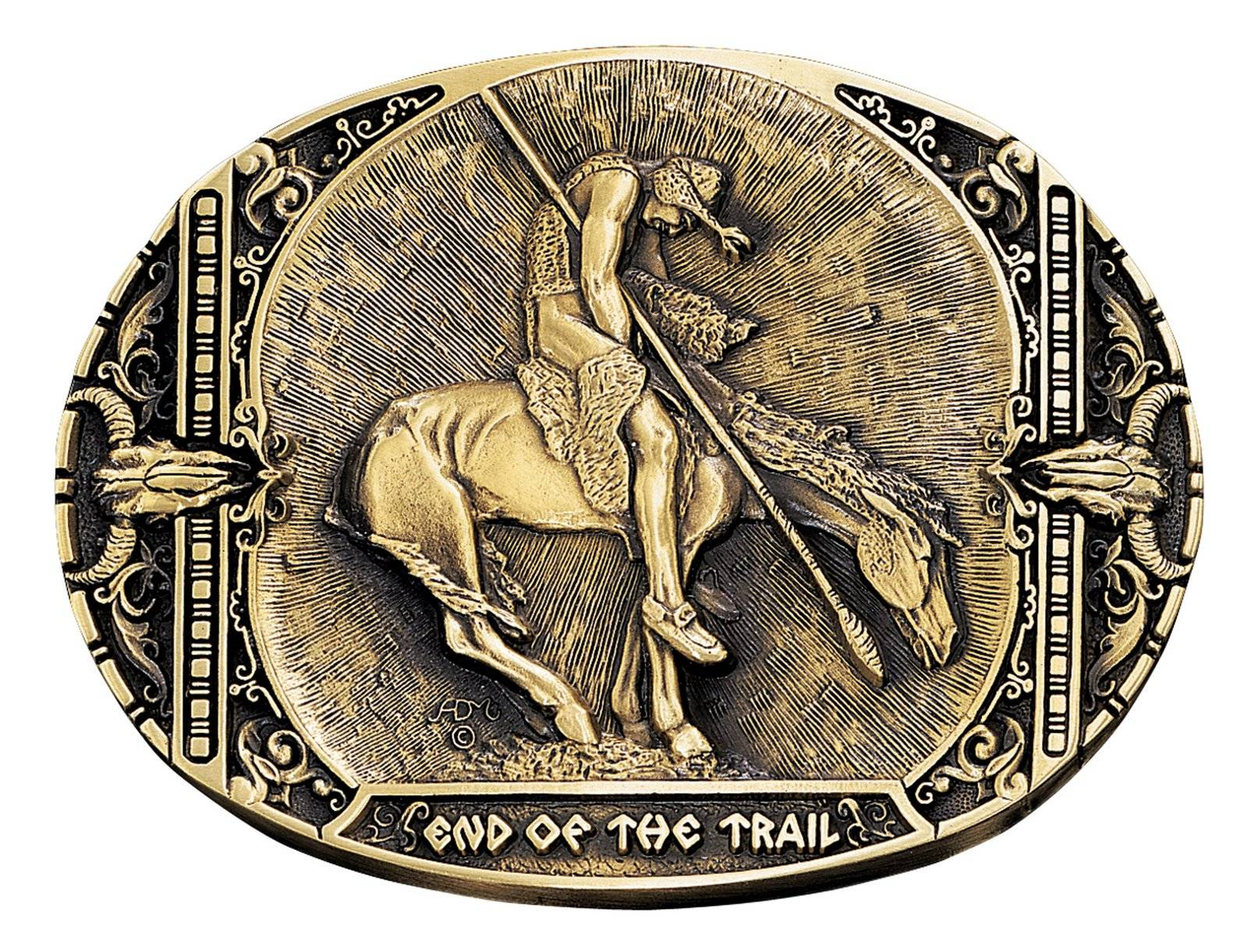 Montana Silversmiths End Of The Trail Brass Heritage Attitude Belt Buckle