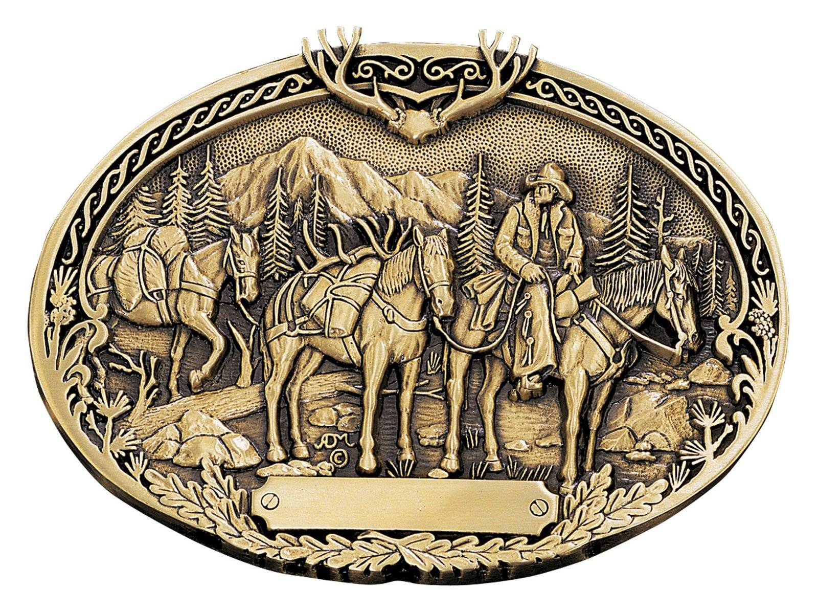 Montana Silversmiths Pack Horses And Rider Brass Heritage Attitude Belt Buckle