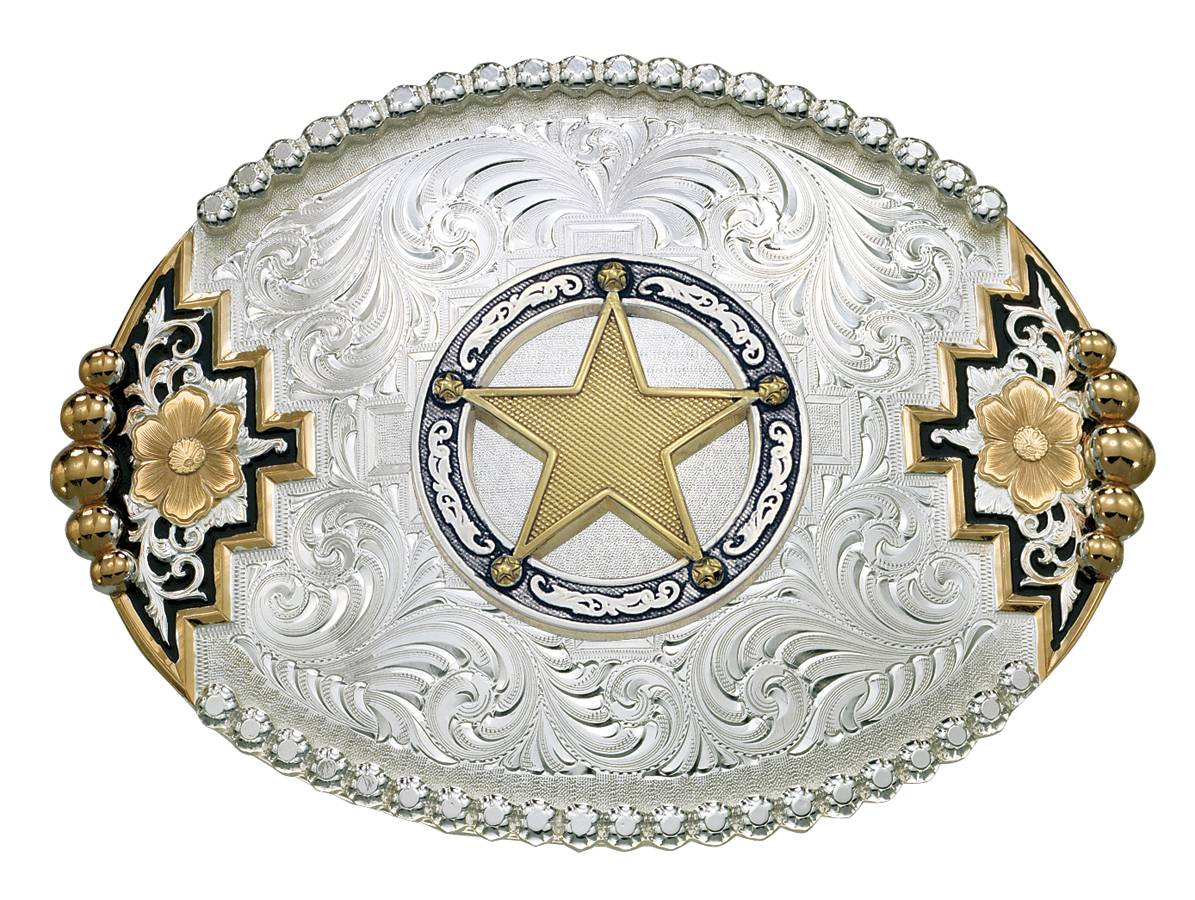Montana Silversmiths Two-Tone Southwestern Belt Buckle with Round Star Concho