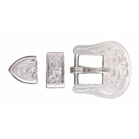 Montana Silversmiths Clear Edge Engraved Silver Buckle Set