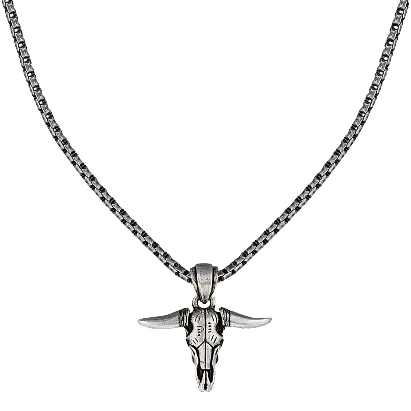 Montana Silversmiths Carved Longhorn Skull Necklace