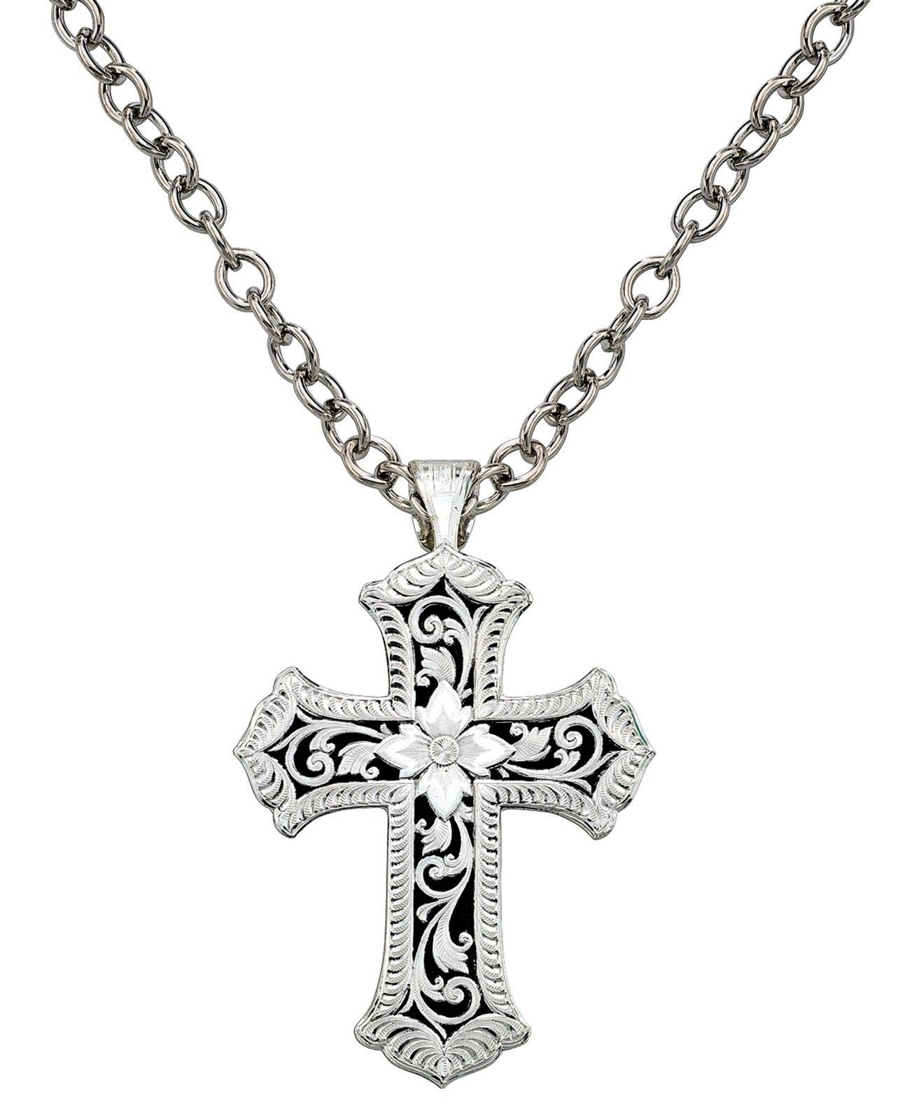Montana Silversmiths Antiqued Scalloped Cross Necklace