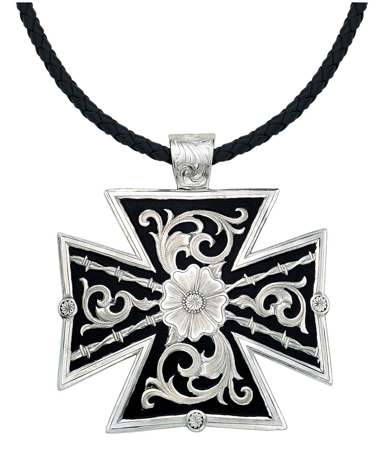 Montana Silversmiths Large Silver Filigree On Black Canterbury Cross Necklace