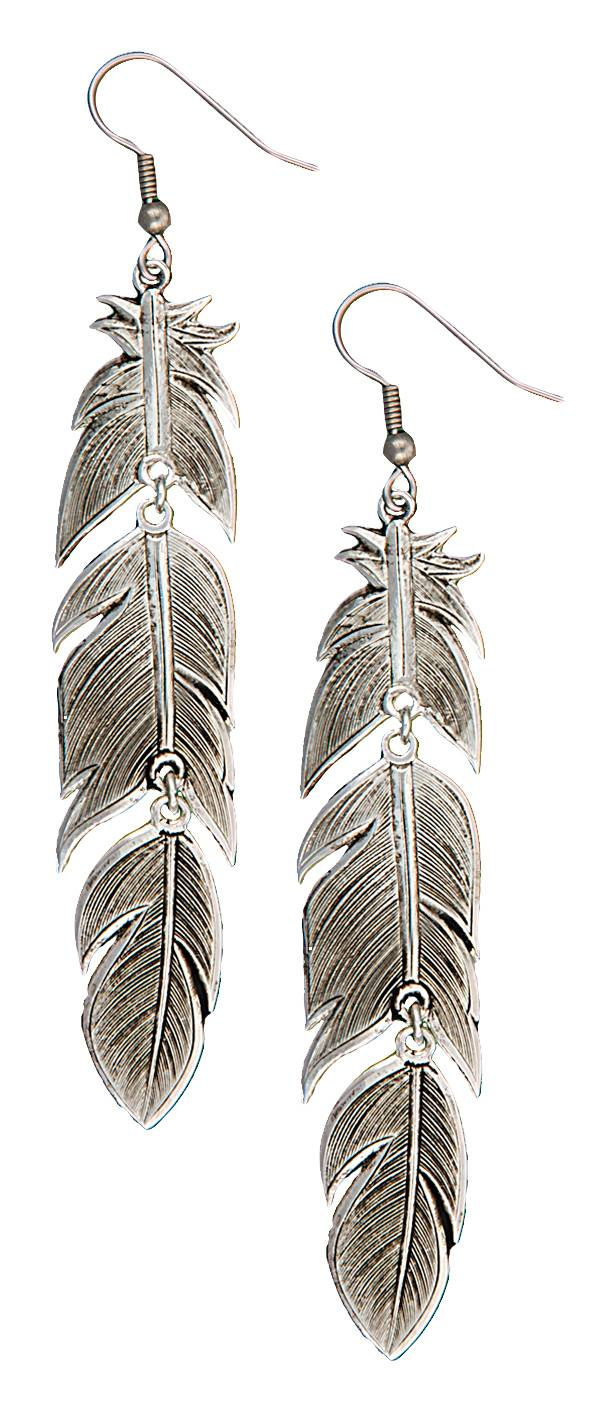 Montana Silversmiths Antiqued Silver Plume Feather Dangle Earrings