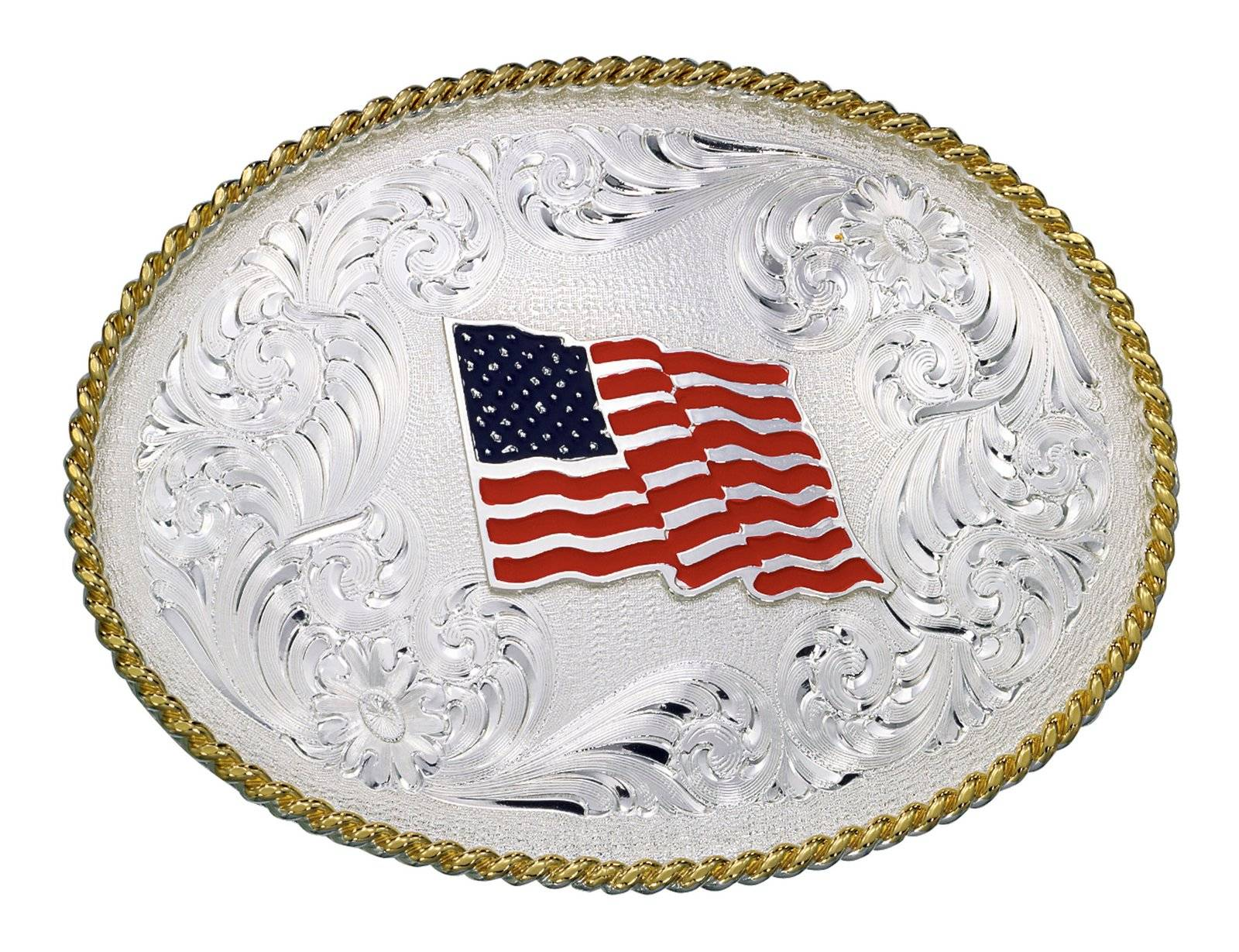 Montana Silversmiths 1340 Series Us Flag Western Belt Buckle