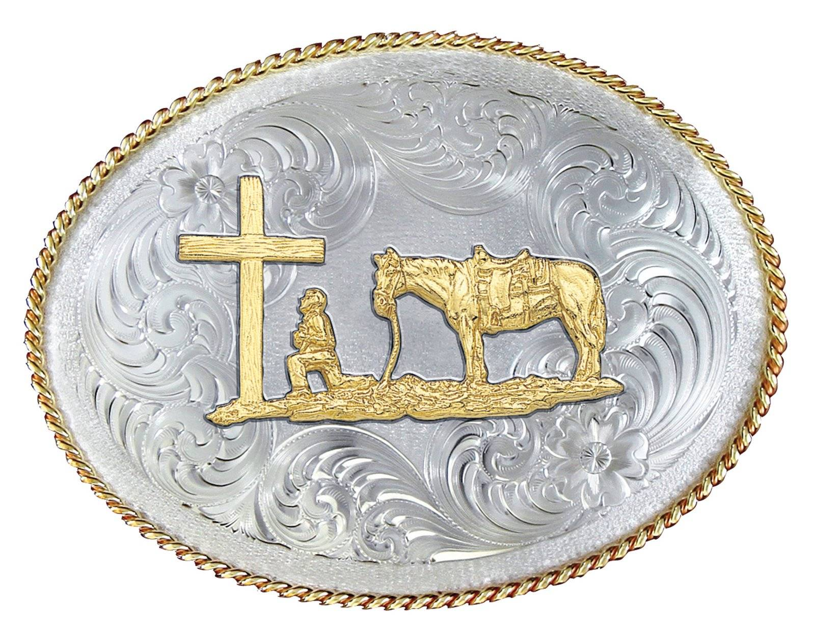 Montana Silversmiths 1350 Series German Silver Christian Cowboy Western Belt Buckle