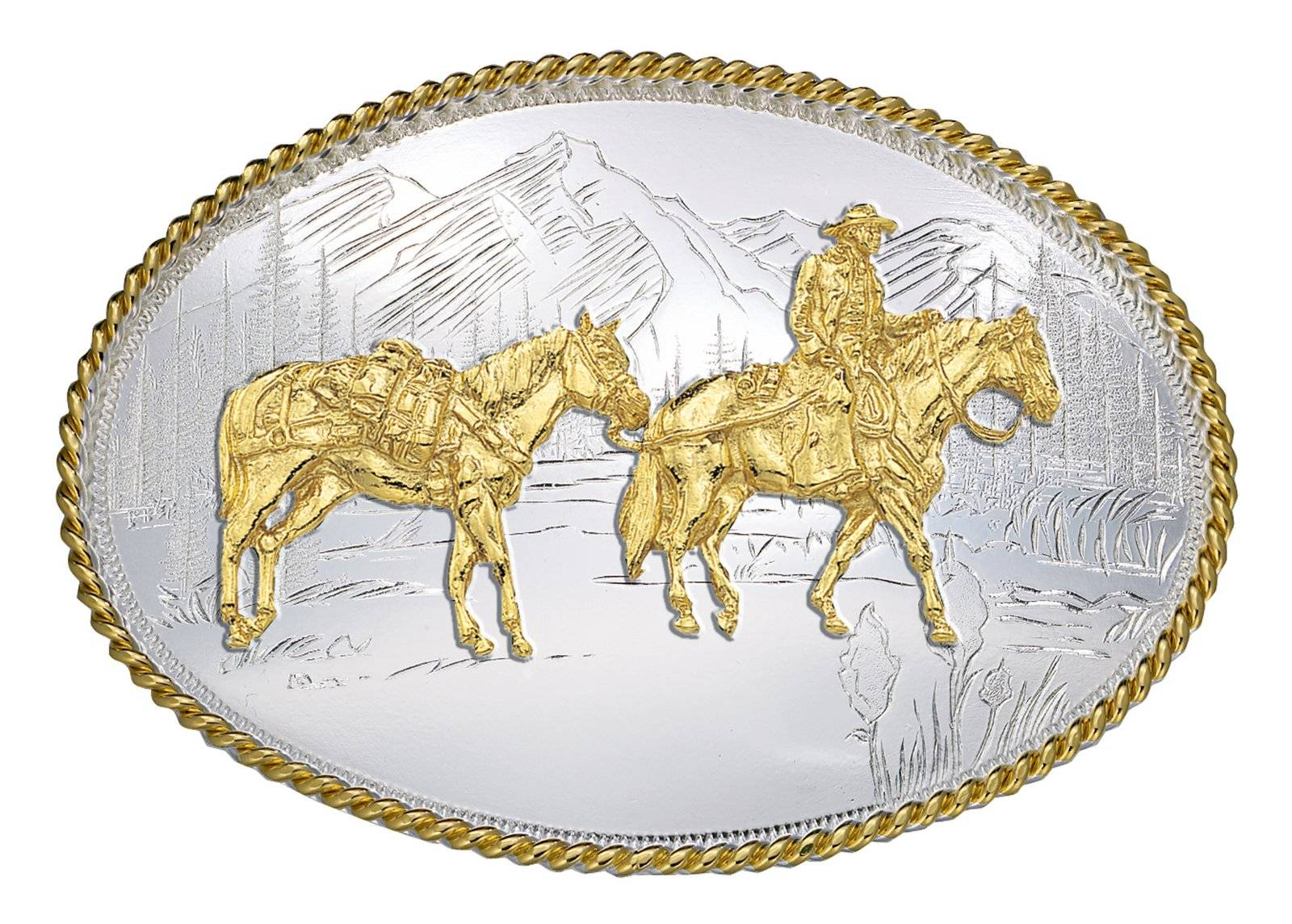 Montana Silversmiths Etched Mountains Belt Buckle with Pack Horse