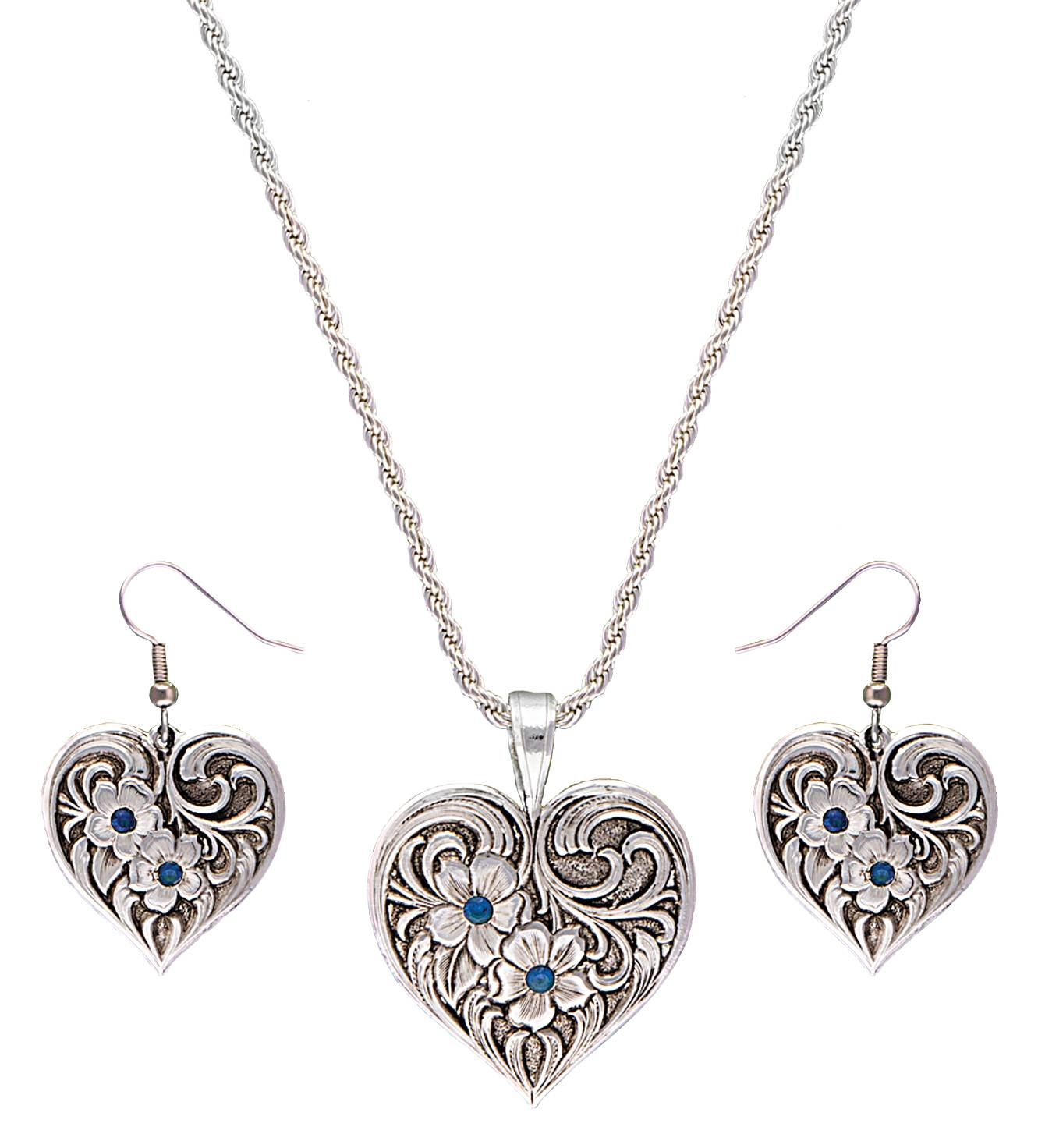 Montana Silversmiths True Blue Tangled Flowers Silver Filigree Jewelry Set