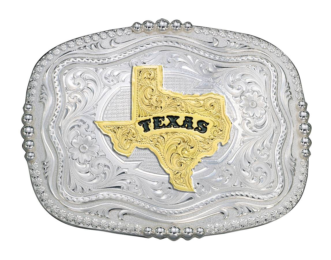 Montana Silversmiths Rounded Square Silver Western Belt Buckle with Texas State