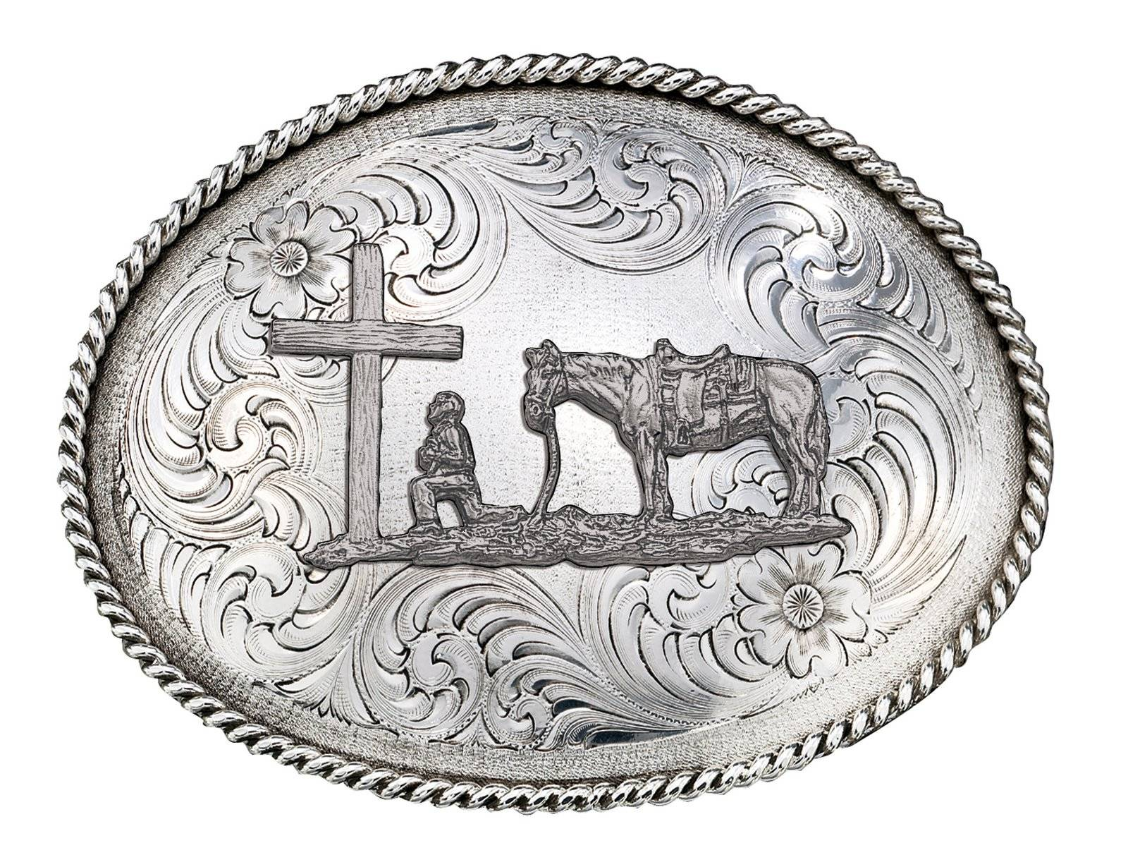 Montana Silversmiths Antiqued Silver 1350 Series Christian Cowboy Western Belt Buckle