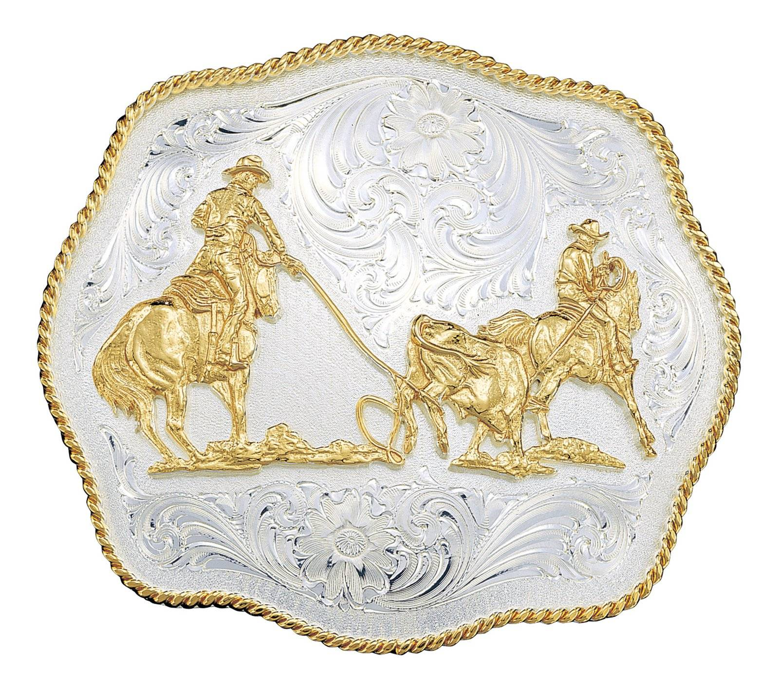Montana Silversmiths Scalloped Western Belt Buckle with Team Ropers