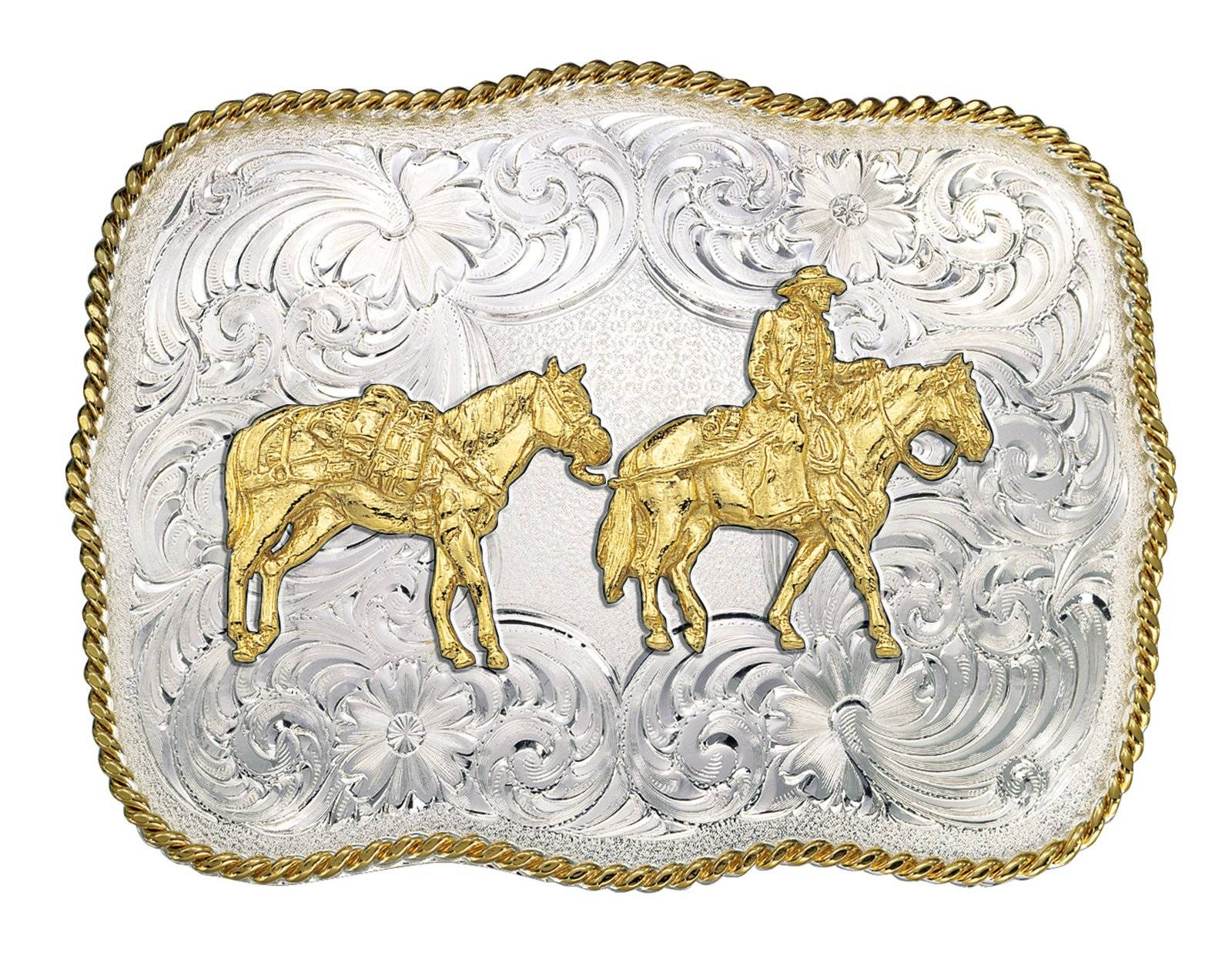 Montana Silversmiths 868 Series Western Belt Buckle with Pack Horse And Rider