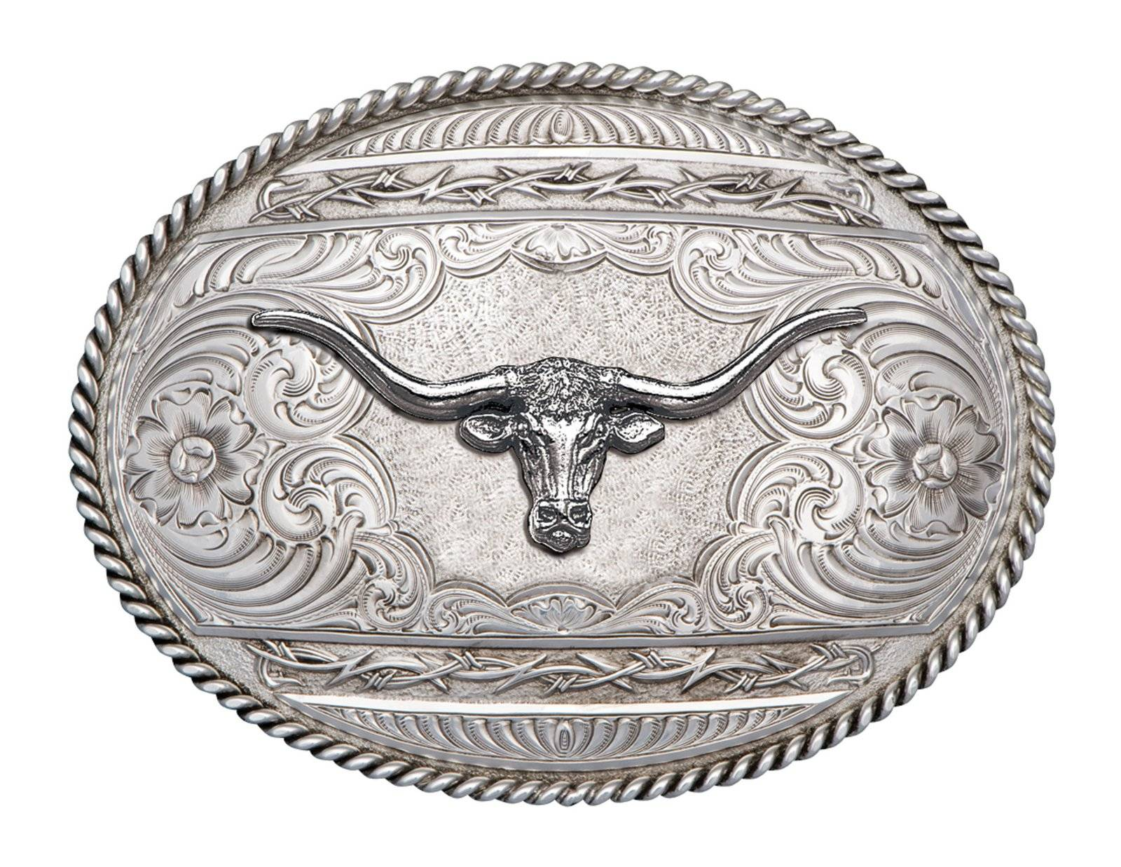 Montana Silversmiths Antiqued Barbed Edge Western Belt Buckle with Longhorn