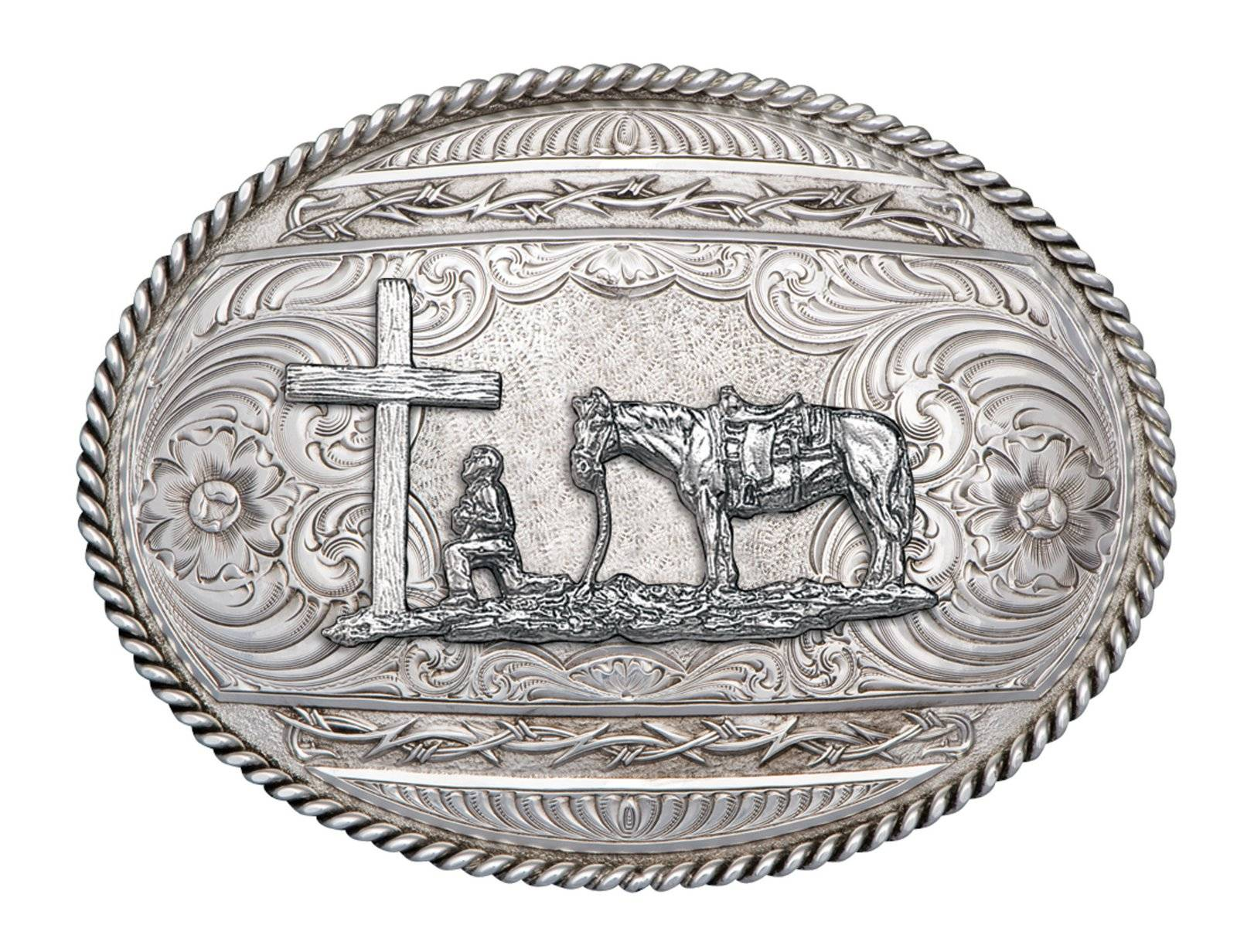 Montana Silversmiths Antiqued Barbed Edge Western Belt Buckle with Christian Cowboy