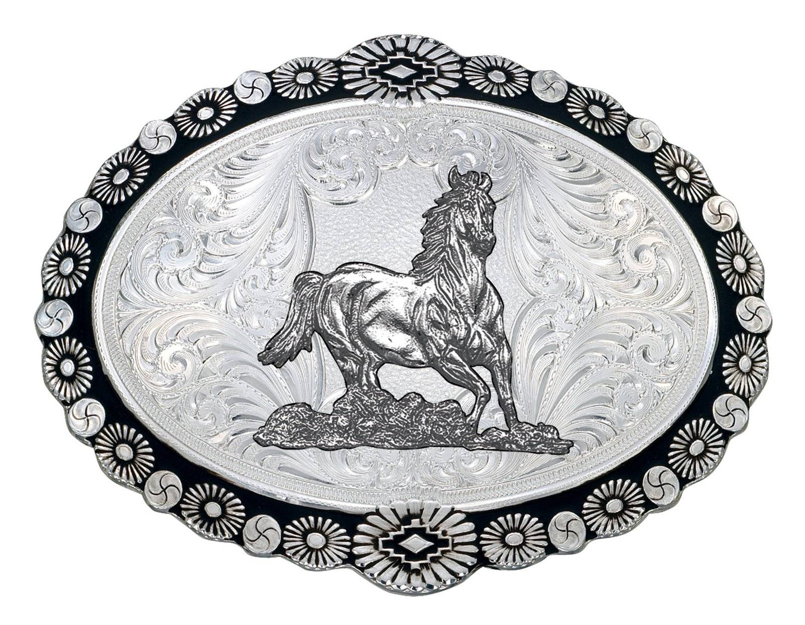 Montana Silversmiths Silver Sunbursts Western Belt Buckle with Galloping Horse