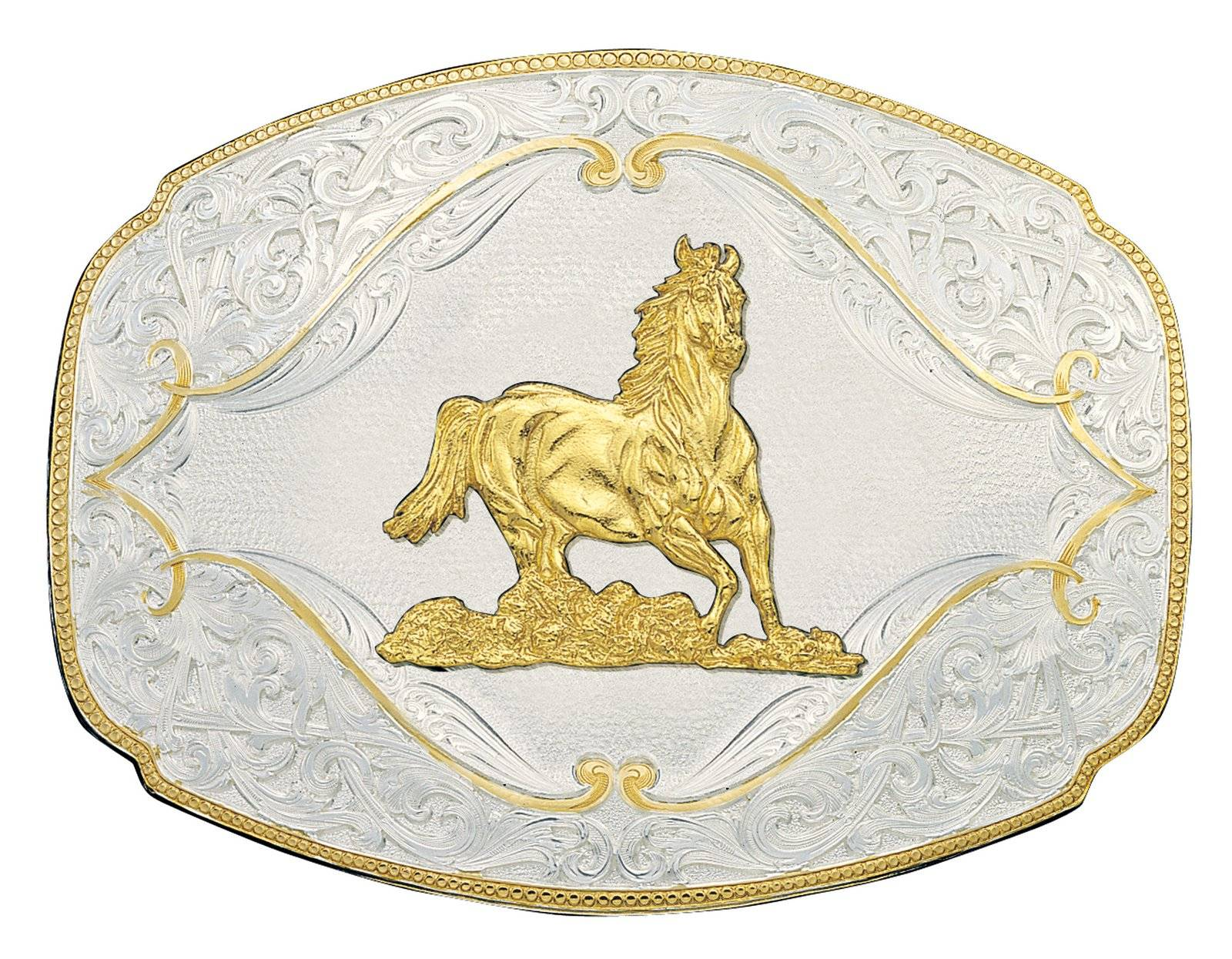 Montana Silversmiths Gold Flourish Western Belt Buckle with Galloping Horse