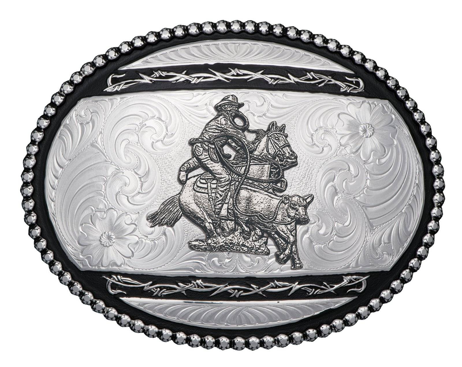 Montana Silversmiths Silver Barbed Edge Western Belt Buckle with Calf Roper