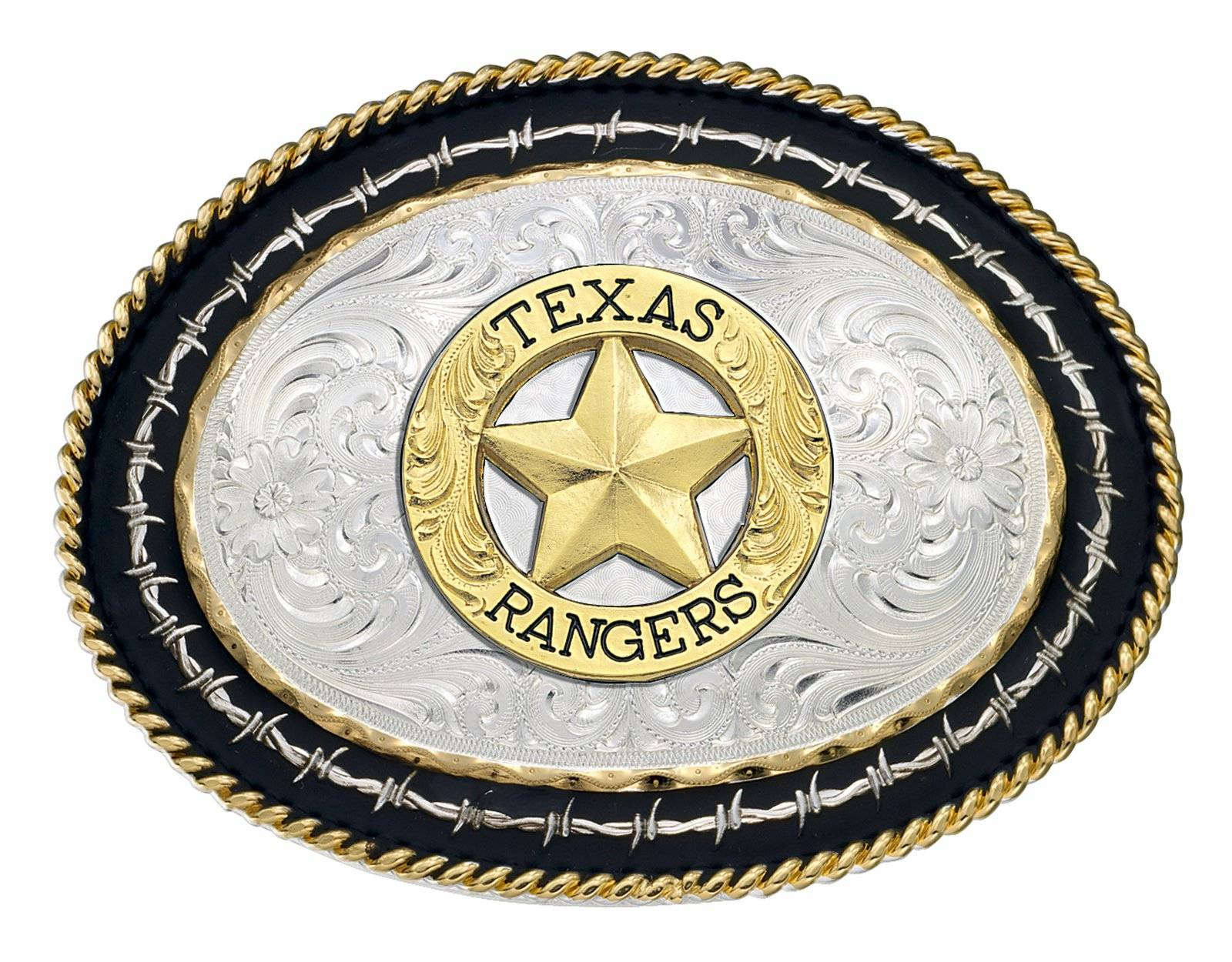Montana Silversmiths Twisted Rope And Barbed Wire Belt Buckle with Texas Rangers Emblem
