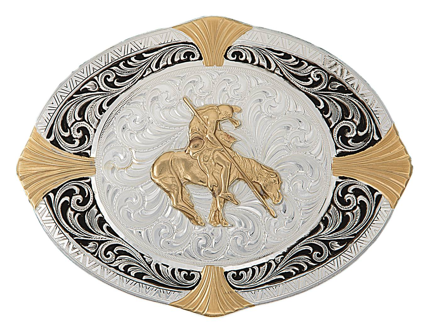 Montana Silversmiths High Plains Cardinal Points Belt Buckle with End Of The Trail Figure