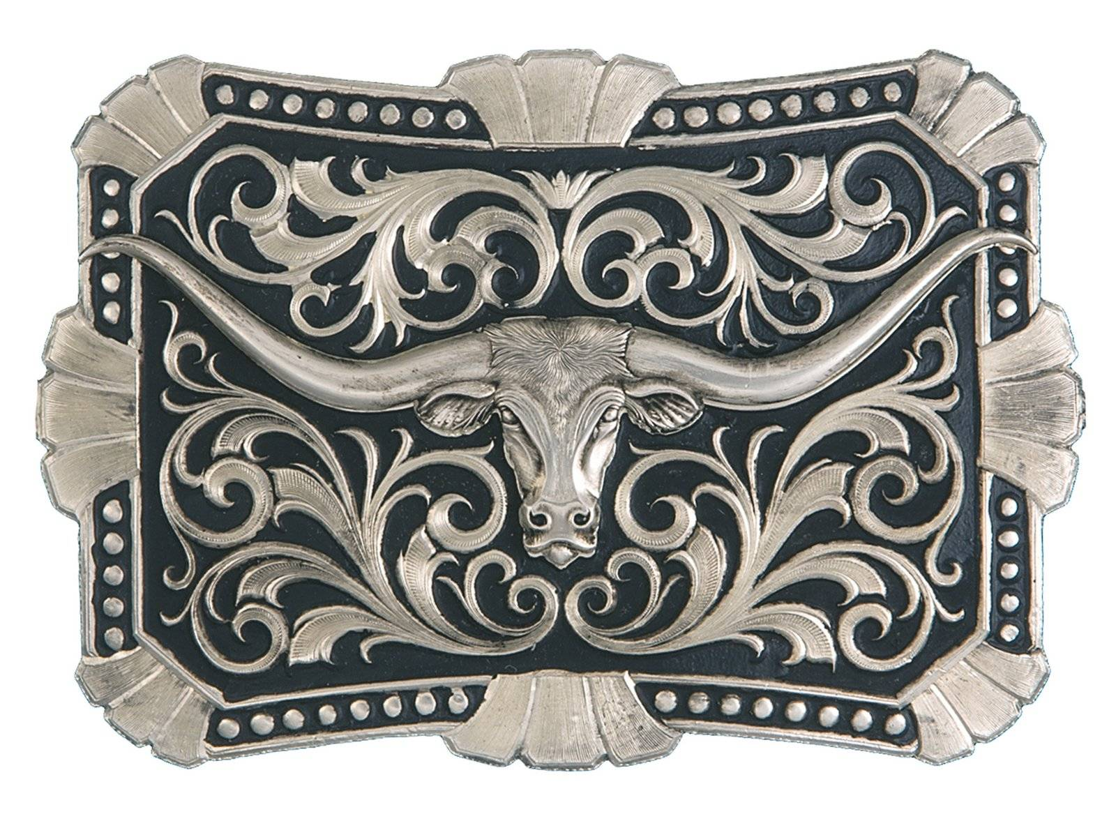 Montana Silversmiths True Blue Trailblazer Longhorn Silver Belt Buckle
