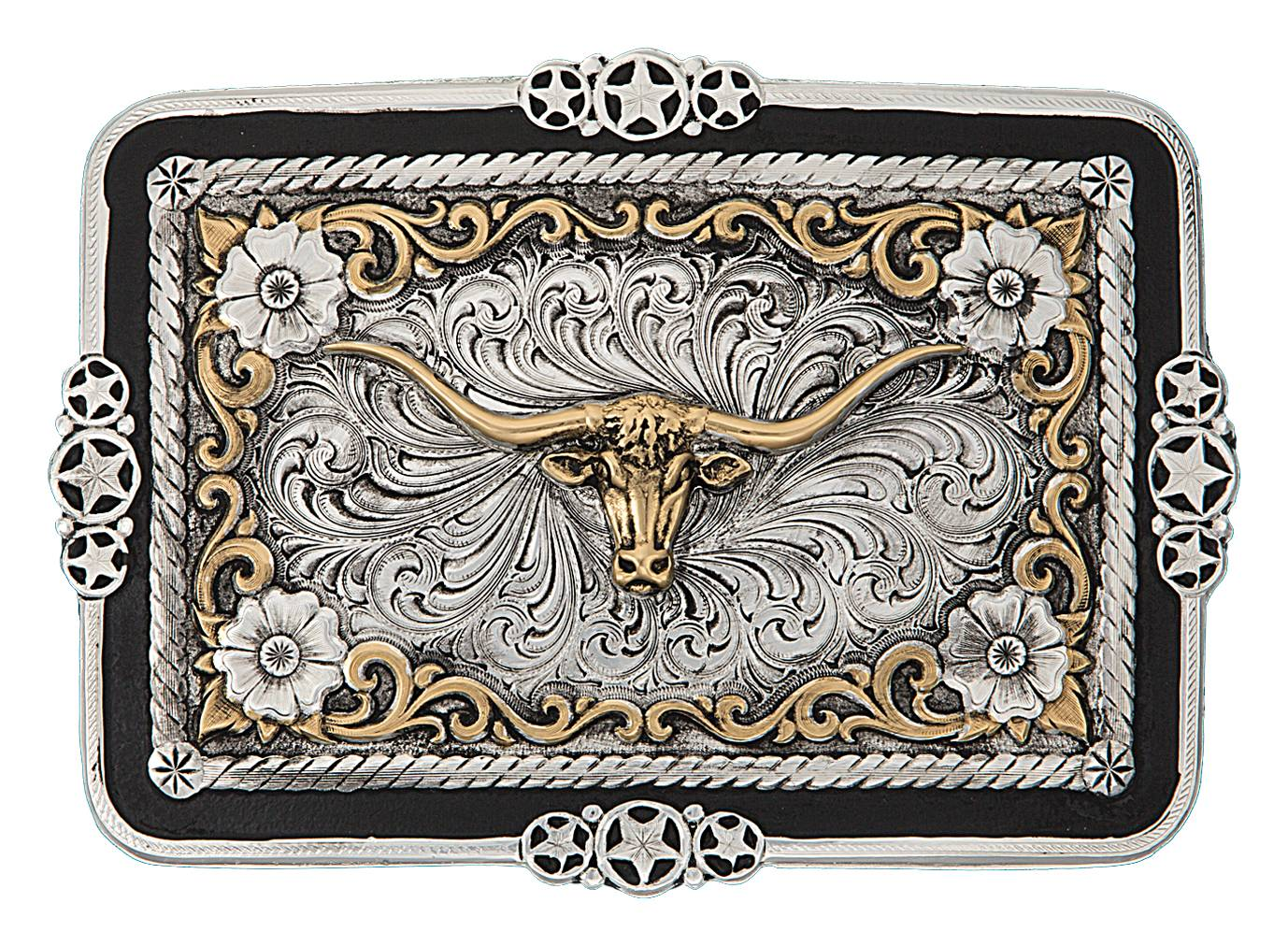 Montana Silversmiths Antiqued Ranchero Stars And Filigree Buckle with Team Ropers