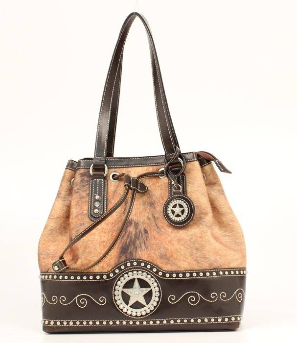 Blazin Roxx Star Concho Hair on Bucket Bag