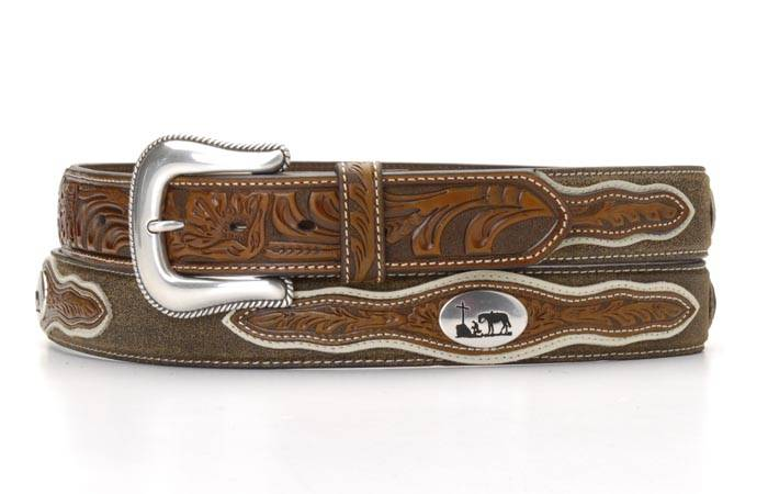Nocona Men's Cowboy Prayer Concho Two Tone Belt