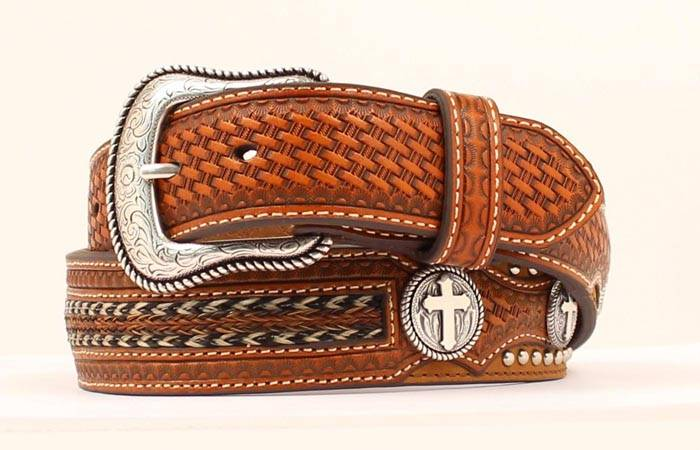 Nocona Tooled and Lace Leather Belt with Conchos