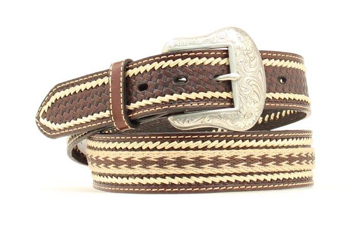 Nocona Mens Ribbon and Lacing Belt with Conchos